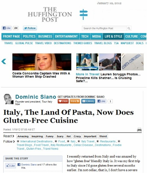 Dominic Siano on gluten-free travel in Italy