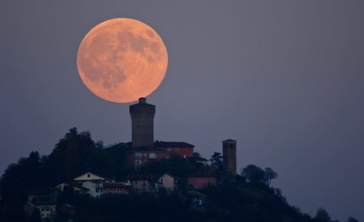 Full Moon Castle of Santa Vittoria, Italy
