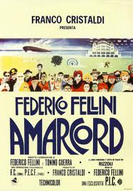 A movie poster for Fellini&#039;s classic movie about an Italian childhood