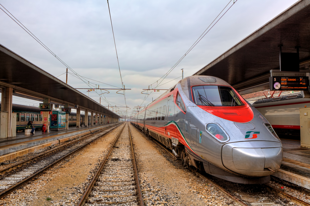 Frecciabianca train on station in Venice