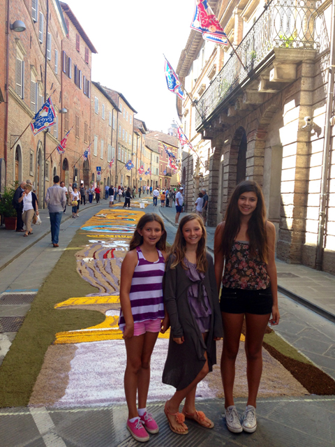 Streets lined with flower paintings