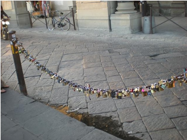 Love locks at Piazzale Michelangelo