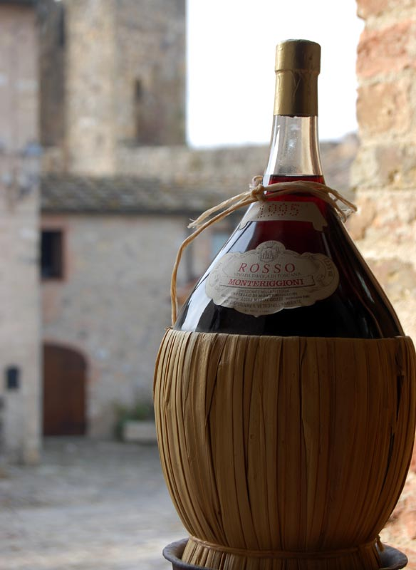 Flask of Chianti wine from Florence Italy