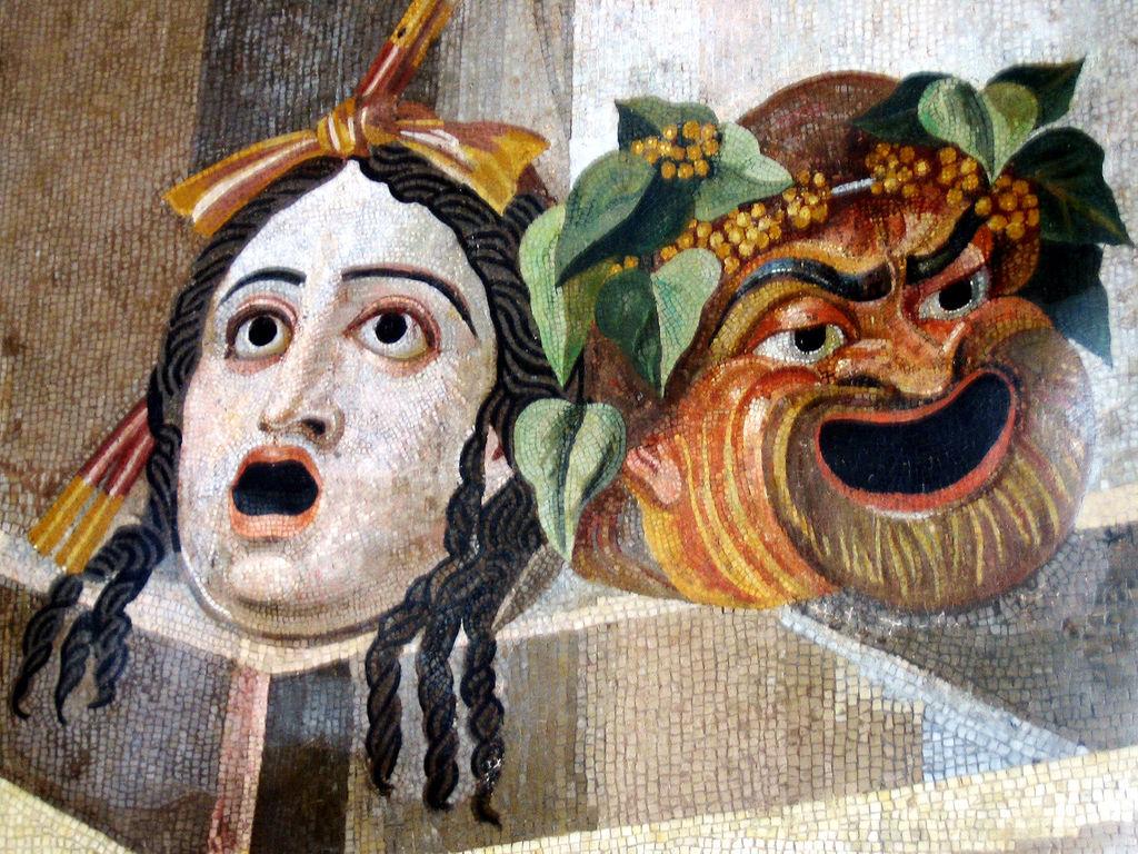 Mask mosaic, Hadrian's Villa, Tivoli, Rome, Italy