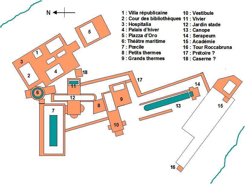 Hadrian's Villa complex map