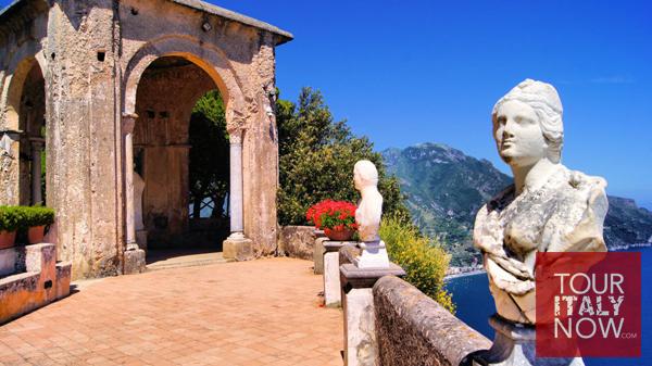 terrace infinity ravello amalfi italy statues