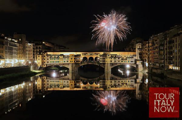 ponte vecchio bridge florence italy - fireworks at night