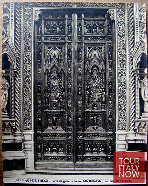 santa maria del fiore duomo florence italy - old photo of original doors
