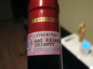 Bottle of Italian Chianti wine