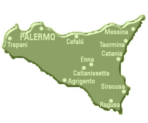 map of the Sicily Region in Italy