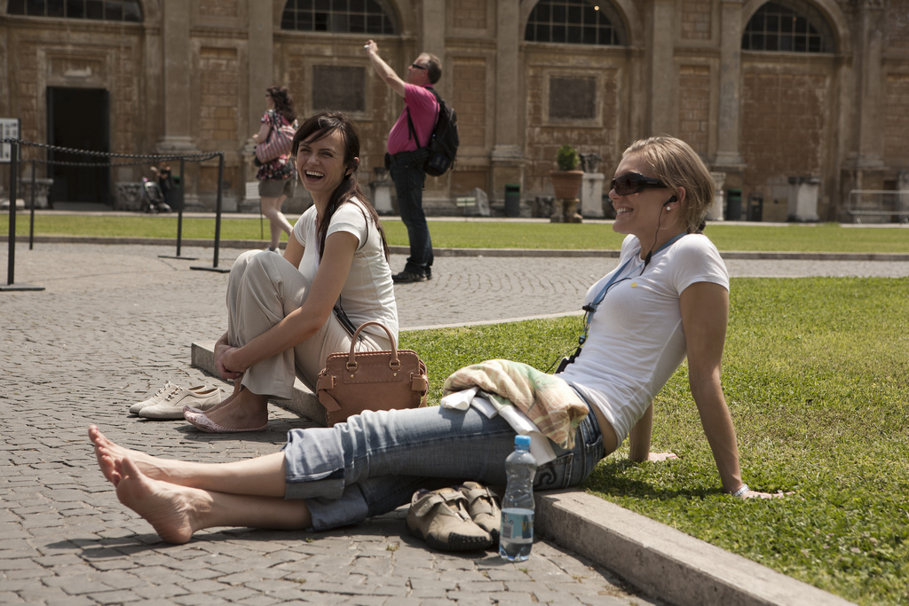 tourists on vacation in Italy