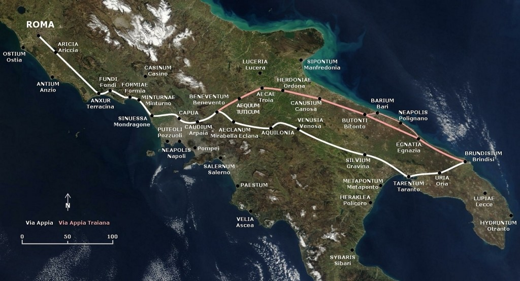 Via Appia route map