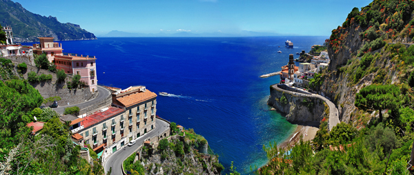 Atrani Amalfi Coast Campania Italy aerial panorama