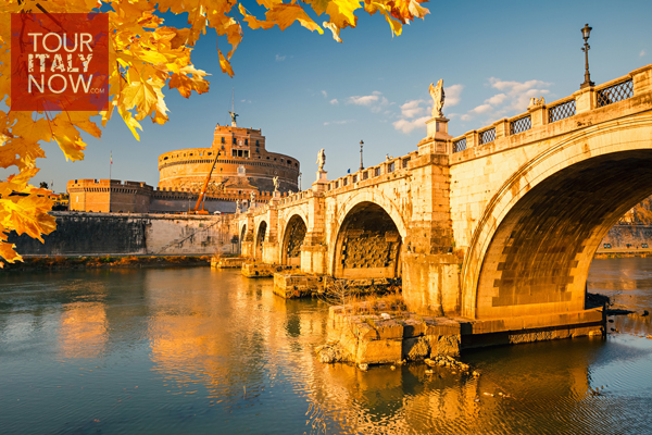 Autumn-Saint-Angel-Castle-and-bridge-over-the-Tiber-river-in-Rome