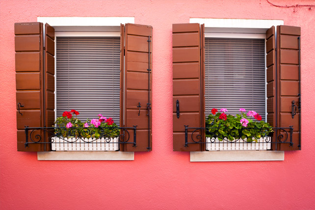 Burano Venice Italy - colorful windows