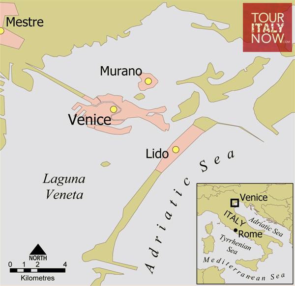murano venice italy - map
