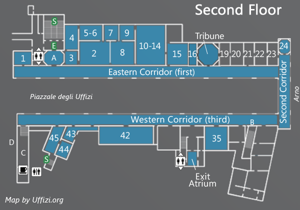 uffizi gallery museum florence italy - map-second-floor