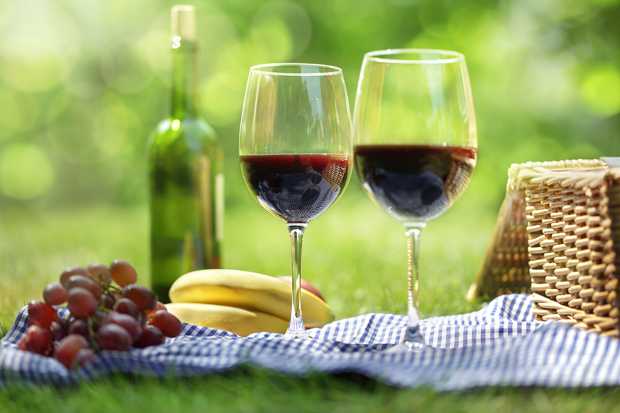 Picnic setting with red wine glasses bottle and picnic hamper ba