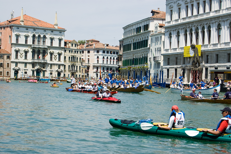 Kayaks on the Grand Canal, Venice