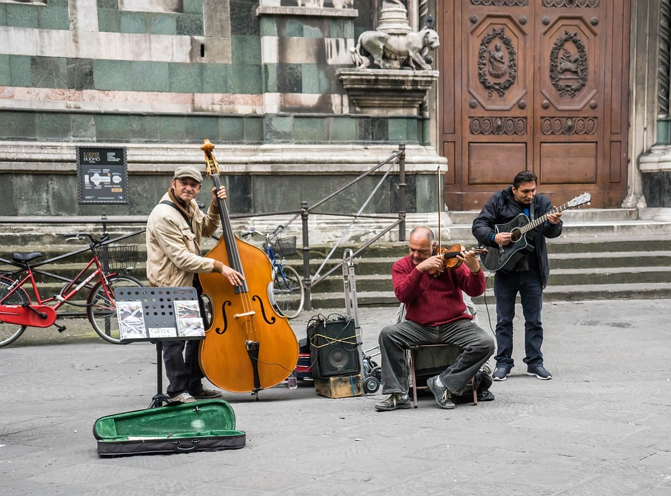 Street musicians performing in Florence, Italy