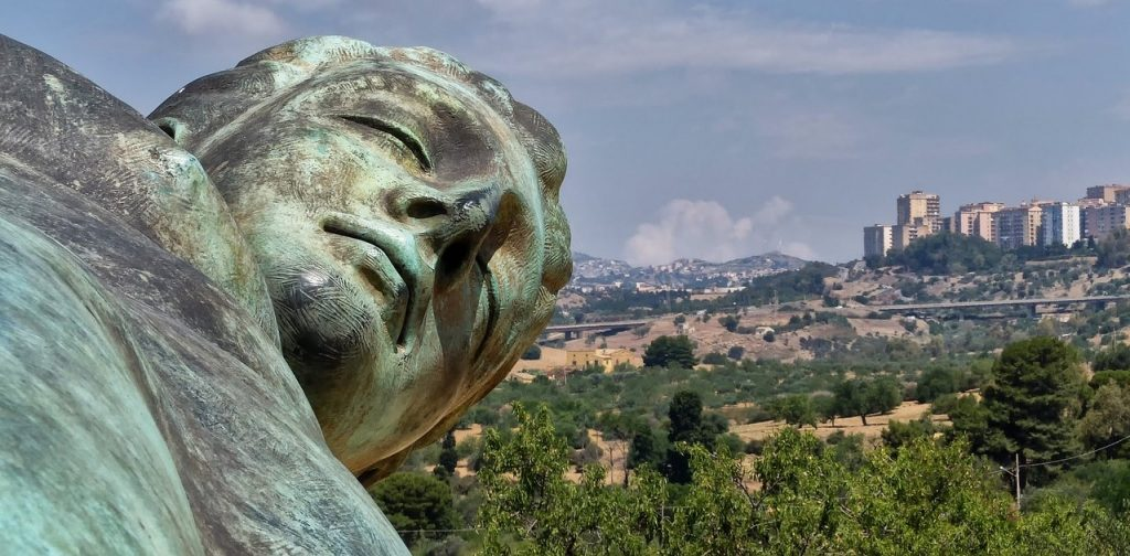 View of Agrigento City from the Valley of Temples