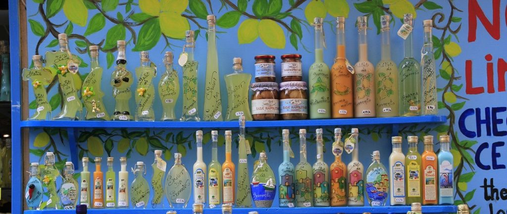 Bottles of Limoncello in Sorrento