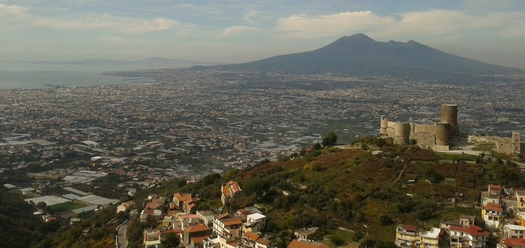 Panoramic View of the City of Naples with Mouth Vesuvius in the Distance