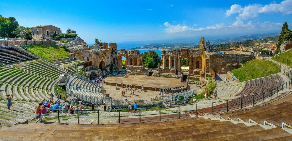 Greek Theater in Taormina with Mount Etna in the Distance